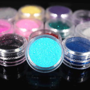 12 Color Metal Glitter Nail Art Tool Kit UV Powder Dust gem Polish Nail Tools Acrylic Powders & Liquids