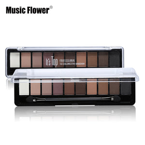 Professional Makeup Brand Earth Color 10 Colors Eyeshadow Palette Glitter Eye Palette Maquiagem Matte Silky Pigments Eye Shadow