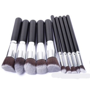 10pcs Silver Make Up Brushes Professional Powder Makeup Brushes Maquiagem Foundation Brush Cosmetic Makeup Tools Accessories
