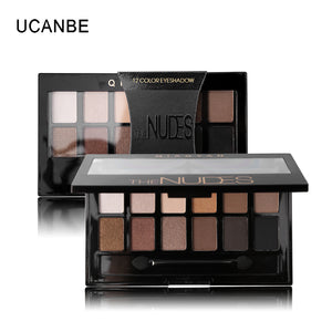 Ucanbe 12 Colors Pro Nude Earth Color Makeup Eyeshadow Palette with Brush Smoky Eye Shadow Shimmer Matte Mineral Waterproof Kits