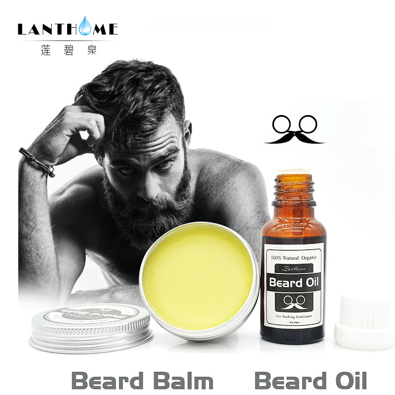 Lanthome Natural Beard Wax Balm Beard Oil Men Shape Beard Grooming Beard products Healthy Conditioner Moisturizing moustache