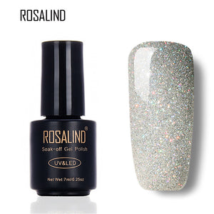 ROSALIND Black Bottle 7ML Rainbow Shimmer R01-29 Gel Nail Polish Nail Art Nail Gel Polish UV LED Long-Lasting gel lacquer