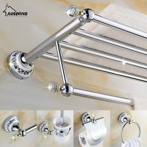 European Silver Bathroom Hardware Set Clear Crystal Bathroom Accessories Set Chrome Finish Ceramic Base Bathroom Products
