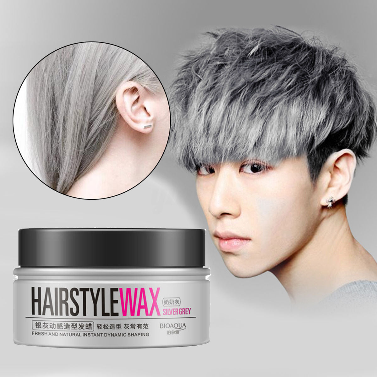 BIOAQUA Unisex Temporary Modeling Gray Silver DIY Hair Color Wax Hair Mud Water Gel Hair Modelling Styling Products
