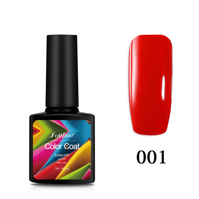 Fulljion 7.5ML Color Series Nail Gel Polish Top Base Coat Long Lasting Shimmer Soak Off Nail Art Gel Varnish Manicure Gelpolish