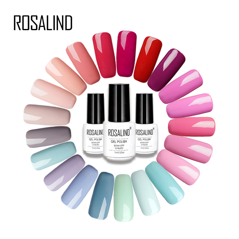 ROSALIND 7ML Pure Color Series Gel Nail Polish Nail Art Gel Varnish ...