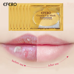 5pcs Collagen Crystal Gold Gel Lip Mask Anti-Aging Anti-wrinkle Patch Moisturizer Lip Plumper Collagen Nourish Lips Care Masks
