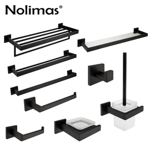 SUS 304 Stainless Steel Bathroom Hardware Set Black Matte Paper Holder Toothbrush Holder Towel Bar Bathroom Accessories
