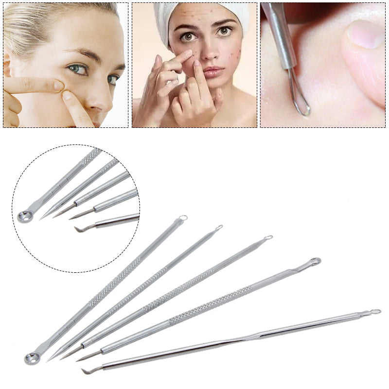5pc Stainless Steel Acne Extractor Removing Tool Face Skin Care Blackhead Blemish Pimple Remover Comedone Extract Ance Needle