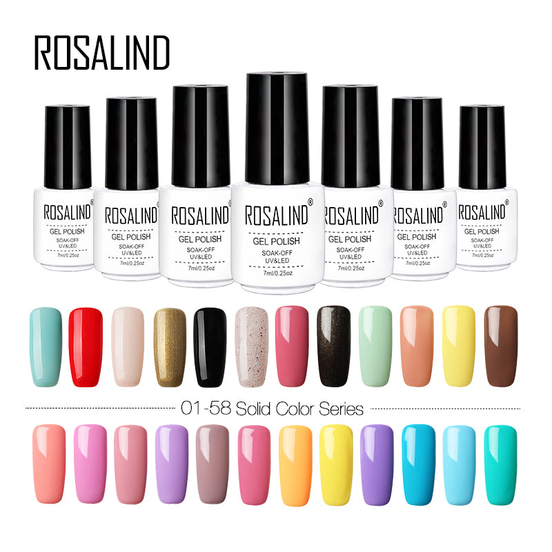 Rosalind 01-58 colors series Gel nail polish Bright Colorful gel lacquer  for stamping Need Top&Base Coat gel varnish