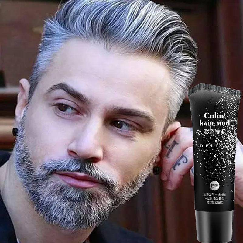 Disposable Silver Gray Hair Color Gel Temporary Color Hair Wax Pomade Mud Product for Quickly Fashionable Modeling