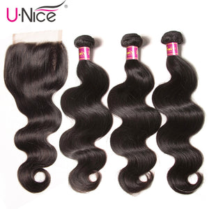 UNICE Hair Brazilian Body Wave Lace Closure Free Part 4 PCS Human Hair Bundles With Closure Swiss Lace Remy Hair Extension