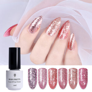 BORN PRETTY Rose Gold Nail Glitter Polish Shining Colors Soak Off UV & LED Gel Varnish Long Lasting Nail Art Gel Polish