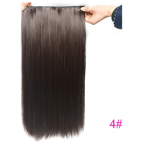 "USMEI 5 clips/piece Natural Silky straight Hair Extention 24""inches 120g Clip in women pieces Long Fake synthetic Hair"