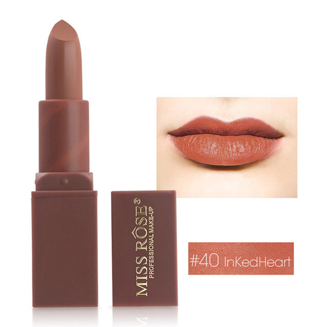 2bcd2827bf MISS ROSE Brand 12 Colors Makeup Red Color Lip Matte Lipstick Lips Vitamin  E Waterproof Lipstick