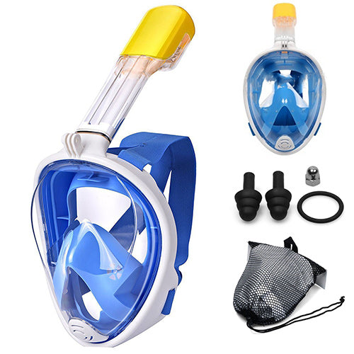 Scuba-Gear Snorkel Mask - Full Face Mask -  Adults, Teens & Kids - Panoramic View - Anti-Fog - Action Camera Mount