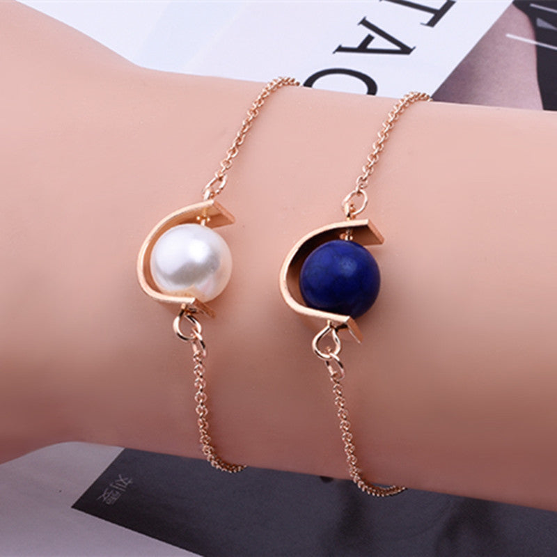Vintage Women Men Blue White Beads Bracelets Bangles Simulated Pearl Personality Semi-circular Geometry Jewelry