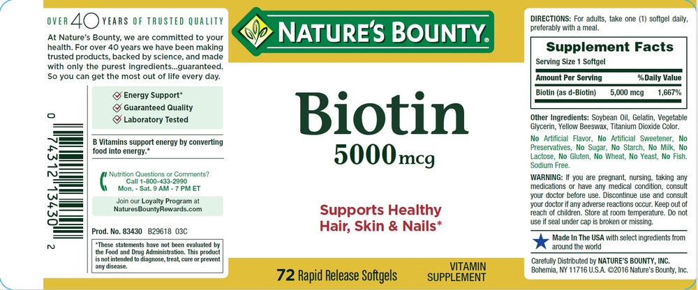 Biotin 5 mg Soft Gel Metabolism Support Supplement - 72 Capsules