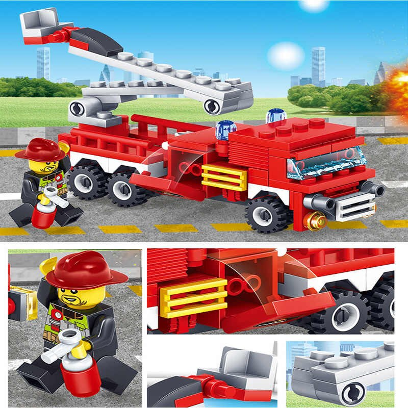 348Pcs City Fire Fighting Trucks Car Helicopter & Boat Building Blocks