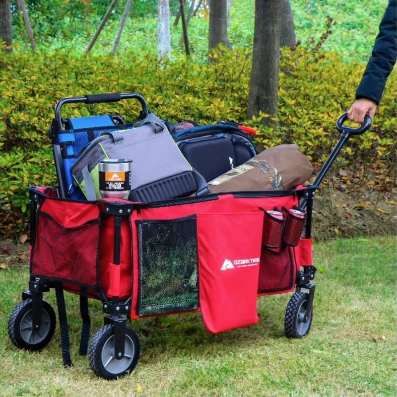 Multipurpose Folding Utility Wagon with Telescoping Handle