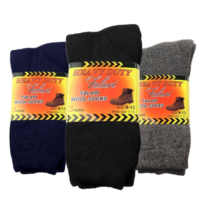 6-Pack Men's Heavy Duty Wool Thermal Work Socks