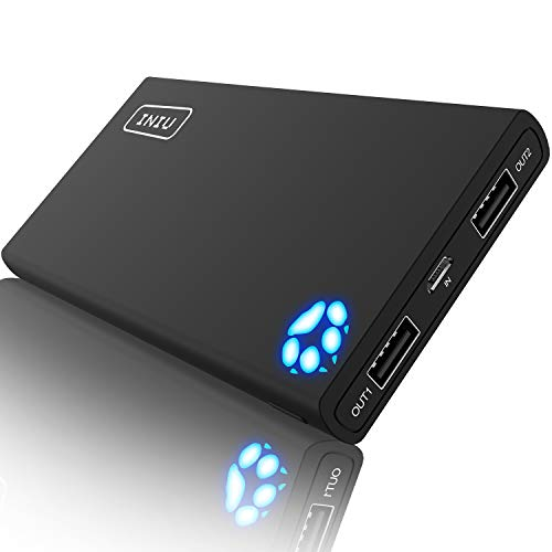 Compact 10,000mAh High Speed 2-Port Power Bank with Flashlight