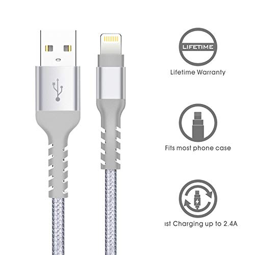 4 Pack: Certified Nylon Braided Apple USB Charge Cables