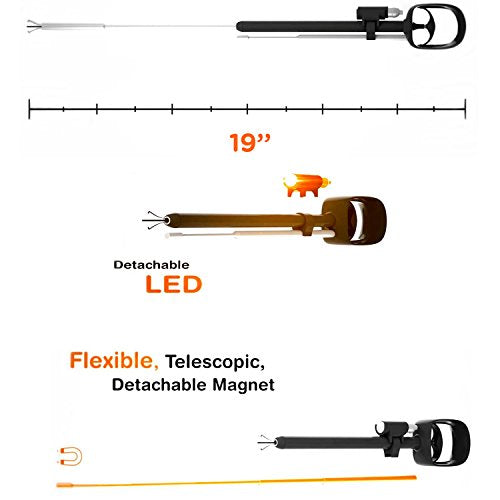 "Ultimate Grabbing Tool with Power Grip - 19"" Flexible Telescopic Claw, 23"" Magnet, LED Flashlight"