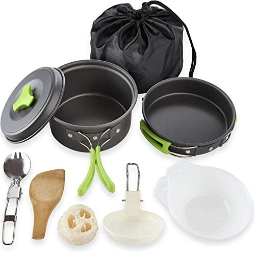 N Camping Cookware Mess Kit, Backpacking Gear and Hiking Outdoors Bug Out Bag Cooking Equipment 10 Piece Cookset | Lightweight, Compact, Durable Pot Pan Bowls with Free Folding Spork and Nylon Bag