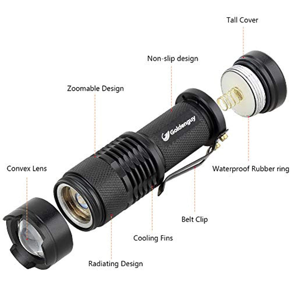 5 Pack: Cree Q5 LED Tactical Flashlight