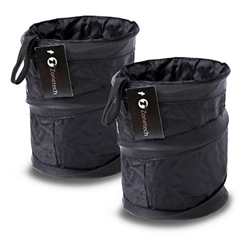2 Pack: Zone Tech Portable Collapsible Pop-up Leak Proof Car Trash Can