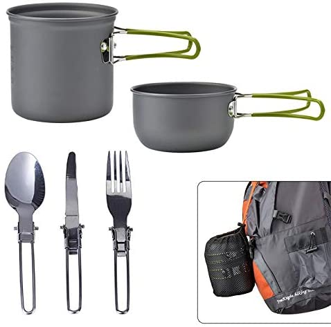 Outdoor Camping Pot Set for 1-2 People Camping Cooking with Portable Bags and Tableware Camping & Hiking Equipment