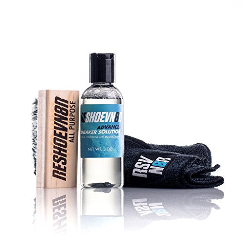 Reshoevn8r 3 Pc Starter Shoe Cleaning Kit - All Natural Solution Sneaker Cleaner | 2 Oz. Advanced Solution, All-Purpose Brush, Microfiber Towel | Perfect for Leather, Suede, Canvas, Mesh, Knit