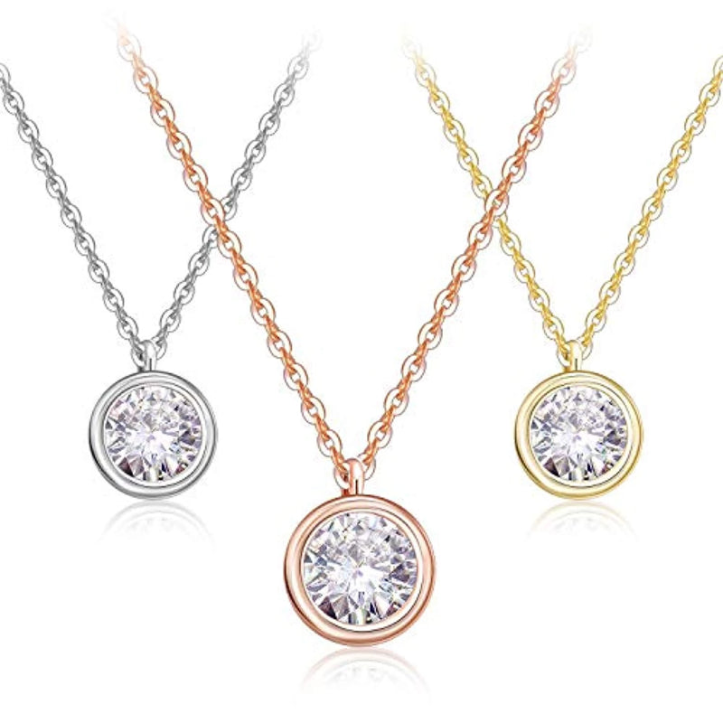 Set of 3 Round Cut Cubic Zirconia Crystals Pendant Necklaces
