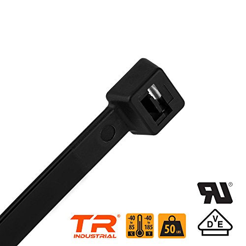 "TR Industrial TR88302 Multi-Purpose Cable Tie (100 Piece), 8"", Black"