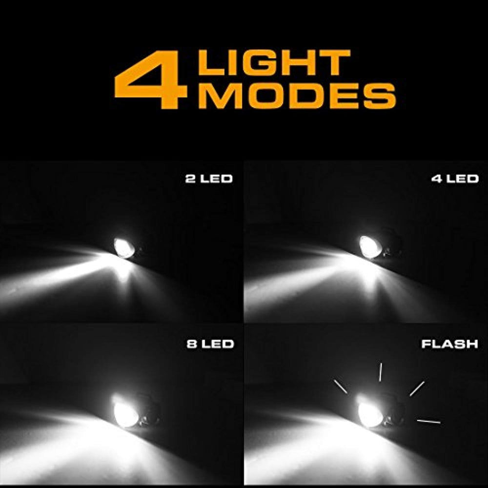 2 Pack: Headlamp 8 LEDs Flashlight - 4 Modes