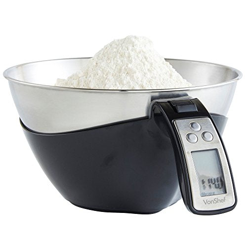 VonShef Bowl Electronic Digital Kitchen Food Scale - 11lb/5kg Capacity - Large Stainless Steel Mixing Bowl & LCD Display Screen