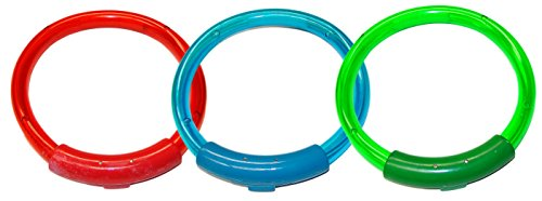"Water Sports Lighted Dive Rings Pool Accessory (3 Piece), Assorted, 8"" x 7"""