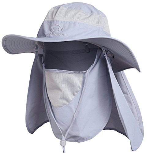 Gray Outdoor Neck & Face Sun Protection Wide Brim Hat