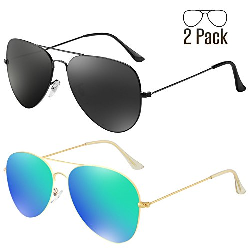 Livhò G Sunglasses for Men Women Aviator Polarized Metal Mirror UV 400 Lens Protection