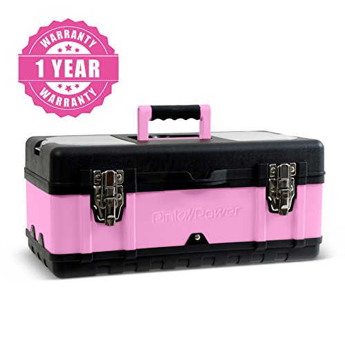 "Pink Power 18"" Portable Aluminum Tool Box for Tool or Craft Storage- Locking Lid and Extra Storage Compartments"