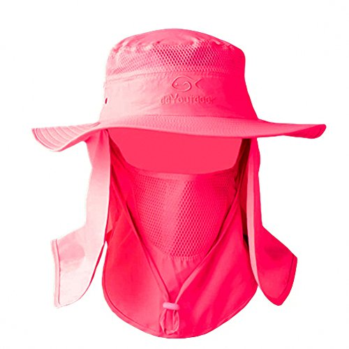 Rose Red Outdoor Neck & Face Sun Protection Wide Brim Hat