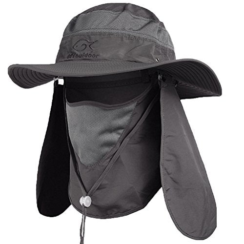 Dark Gray Outdoor Neck & Face Sun Protection Wide Brim Hat