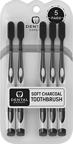 5 Pack: Gentle Soft Teeth Whitening Charcoal Toothbrush
