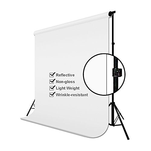 Studio 6 ft X 9 ft White Photo Video Photography Studio Fabric Backdrop Background Screen, JSAG103