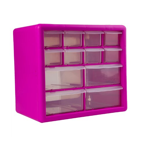 The Original Pink Box PB12SPB 12-Drawer Small Parts Organizer, Pink