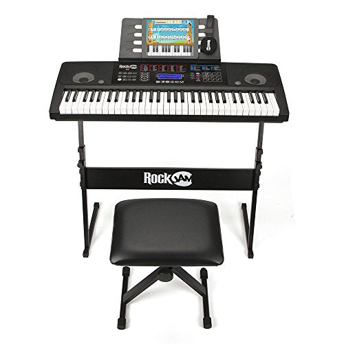 61 Key Electronic Interactive Teaching Piano Keyboard with FREE Stand, Stool, Sustain Pedal & Headphones (+ 2-Days Free Shipping)