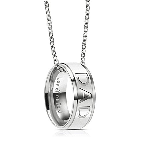 Silove Love you Dad Mom Stainless Steel Necklace for Men Women Dad Birthday Gifts Jewelry Father's Day Gift