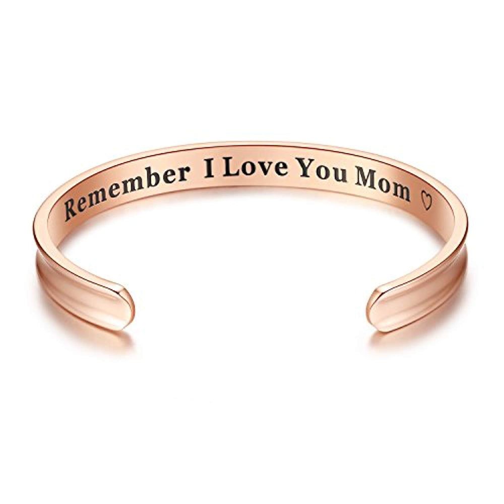 "Elegant ""Remember I Love You Mom"" Cuff Bangle"