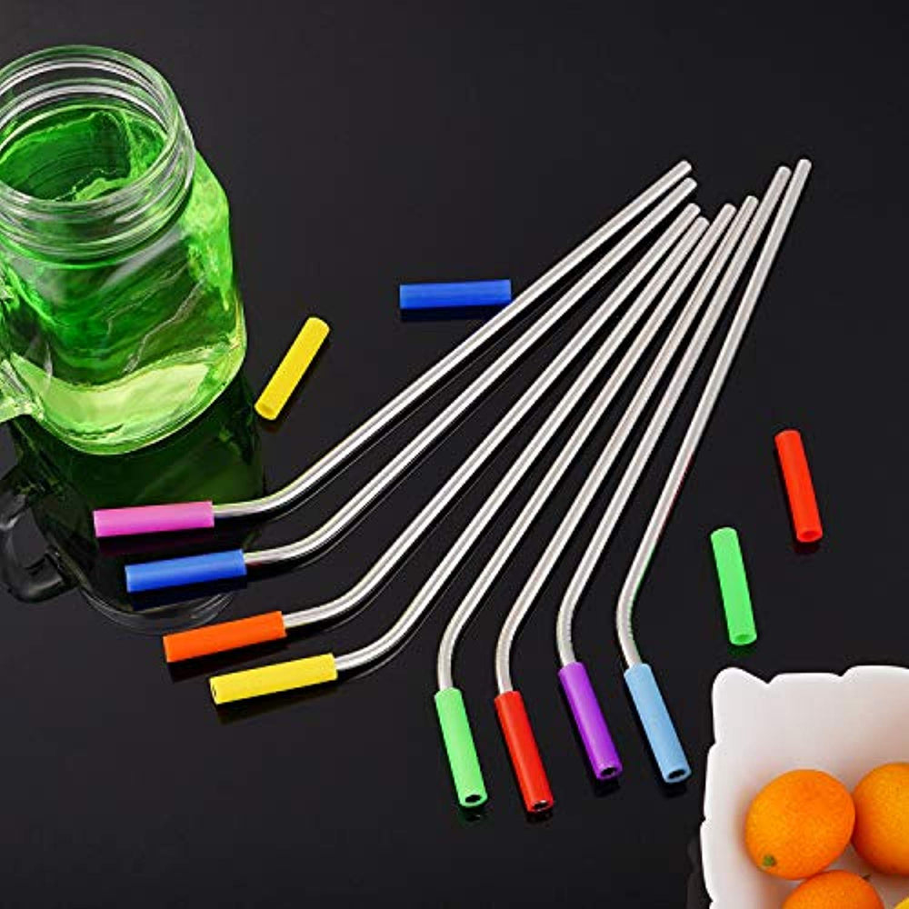 16 Piece Stainless Steel Straws Metal Straws with 24 Soft Food-Grade Silicone Tips & 4 Cleaning Brushes